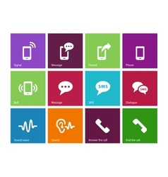 Phone icons on color background vector