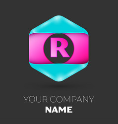 Realistic letter r logo in colorful hexagonal vector