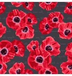 Seamless vintage pattern with poppies flower vector image