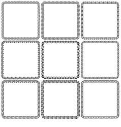 set Nine square ornamental frames Black on a white vector image vector image