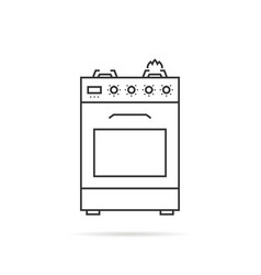 Thin line gas stove icon with shadow vector