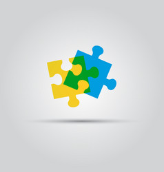 two puzzle pieces isolated colored logo vector image vector image