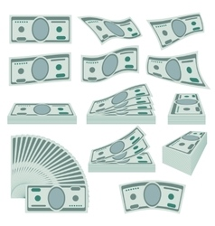 Us dollars money stacks set vector