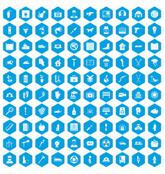 100 help icons set blue vector