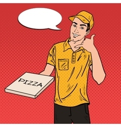 Pizza delivery man holding a pizza box pop art vector