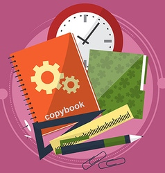 Books and school process writing drawing in vector