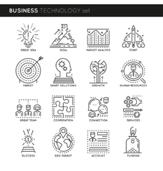 Business technology linear icons set vector