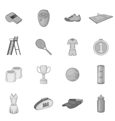 Tennis icons set gray monochrome style vector
