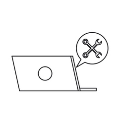 Isolated laptop bubble and wrench design vector