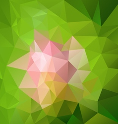 Abstract pink flower on green polygon triangular vector