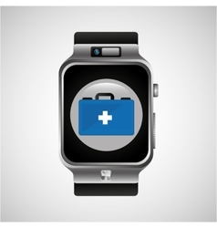 Smart watch first aid box wearable healthy vector