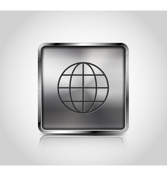 Metallic web icon with reflection and shadows vector image