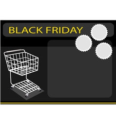 A shopping cart on black friday background vector