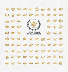 Set of geometric vintage crown vector