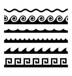Seamless Wave Pattern Set Template vector image