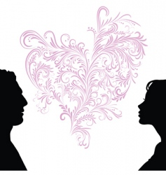 man and woman faces silhouettes vector image