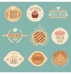 Bakery labels set bread vintage vector