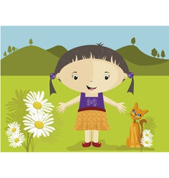 Girl with daisies vector