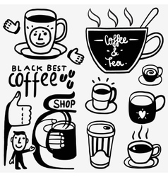 Coffee cups icons vector