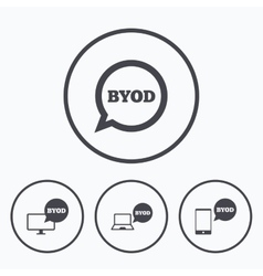 Byod signs notebook and smartphone icons vector