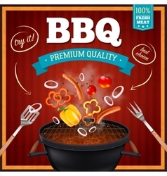 Barbecue realistic poster vector