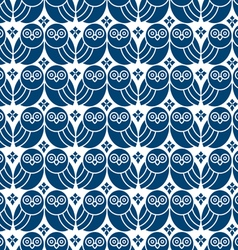 Retro seamless pattern with owls vector