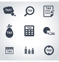 black tax icon set vector image