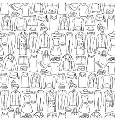 Doodle seamless pattern with woman clothes vector