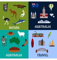 Australia flat travel symbols and icons vector image