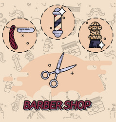 barber shop flat concept icons vector image