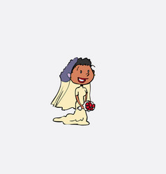black bride with veil posing happy isolated vector image vector image