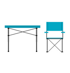 Camping table and chair vector