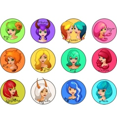 Cartoon set of zodiac signs cute girls vector