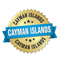Cayman islands round golden badge with blue ribbon vector