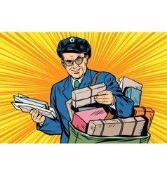 Cheerful retro oldster postman pop art vector image