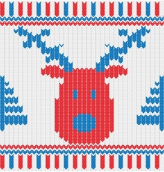 Christmas Knitted background with deer trees and vector image vector image