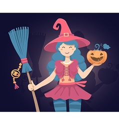 Colorful halloween of witch character with b vector