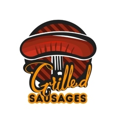 Creative logo design with grilled sausages vector image vector image