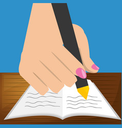 Cute hand with pen and paper test vector