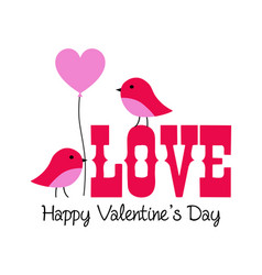 Cute valentine lovebirds graphic with balloon vector
