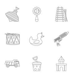 Different kids toys icon set outline style vector