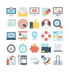 Digital marketing colored icons 1 vector