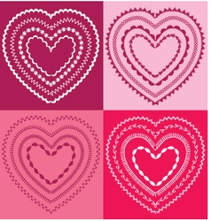 Embroidered valentine hearts vector