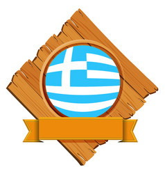 Flag of greece on wooden board vector