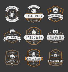 happy halloween labels an badges design set vector image