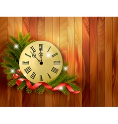 Holiday background with tree branches and clock vector image