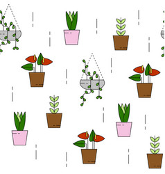 House plant pattern seamless vector