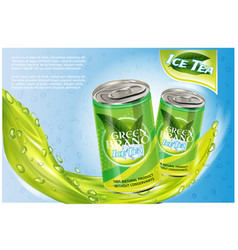 Ice tea products ad 3d soft vector