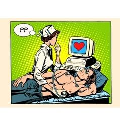 Love heart nurse and patient vector