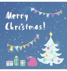 Merry christmas postcard vector